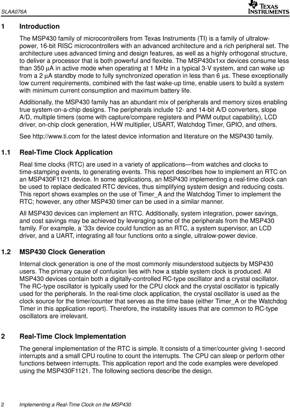 Implementing a Real-Time Clock on the MSP430 - PDF