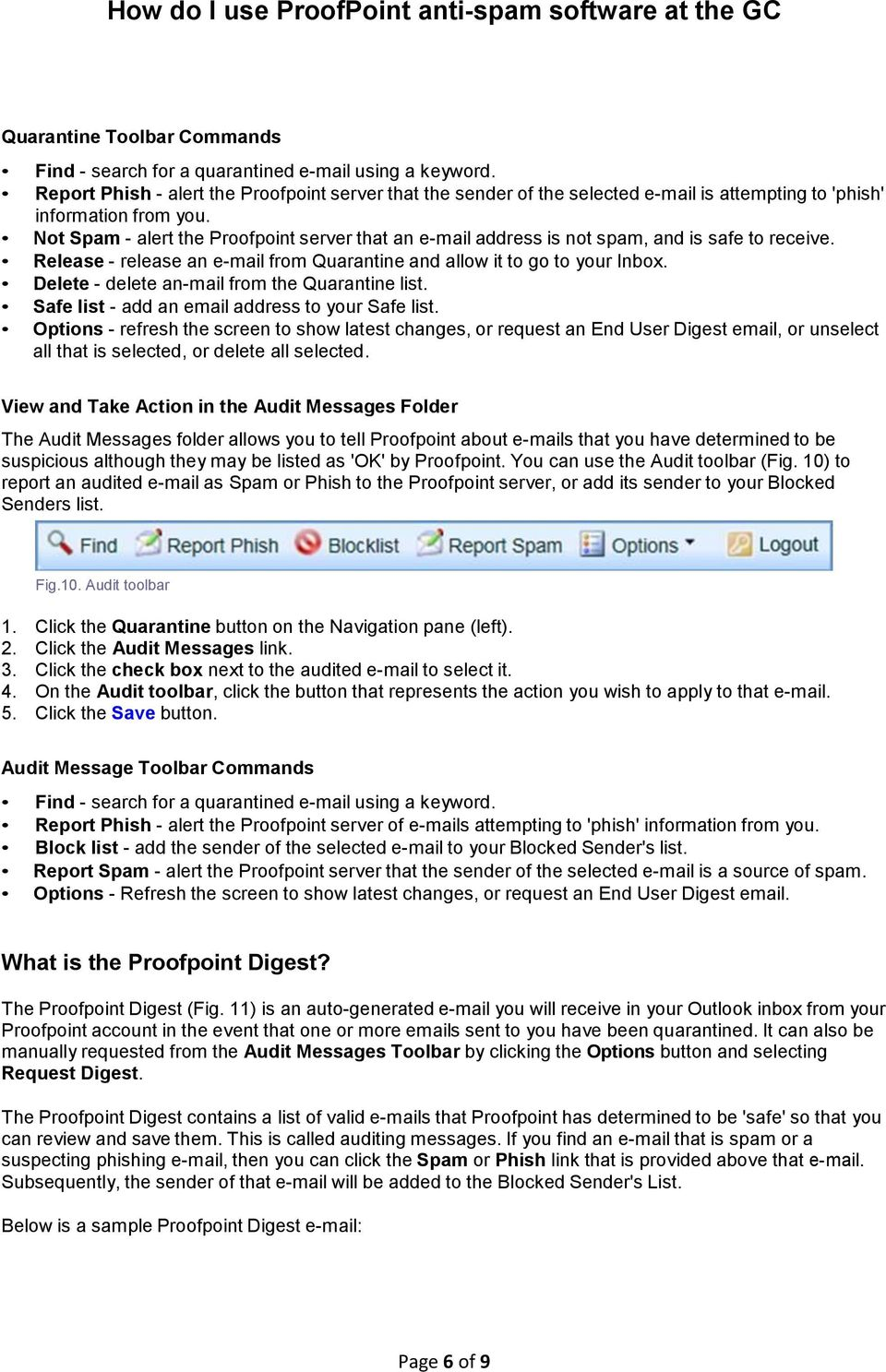 How do I use ProofPoint anti-spam software at the GC - PDF
