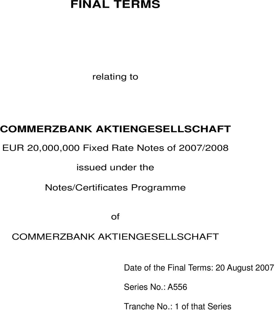Notes/Certificates Programme of COMMERZBANK AKTIENGESELLSCHAFT
