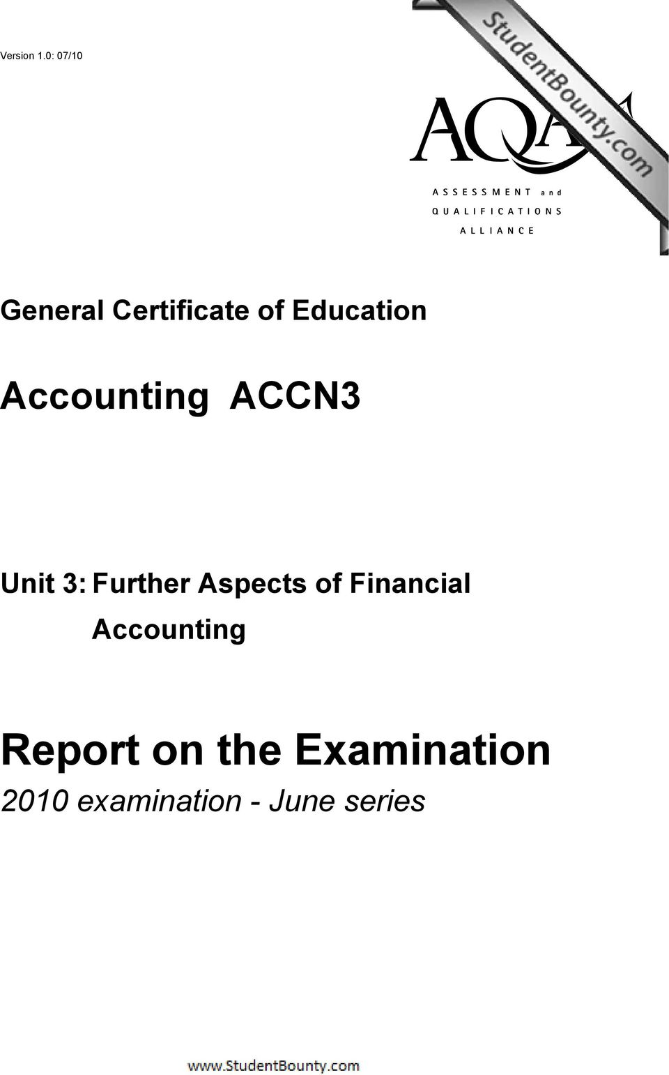 Education Accounting ACCN3 Unit 3: Further