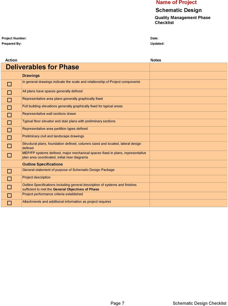 Schematic Design: Quality Management Phase Checklist Project Phase