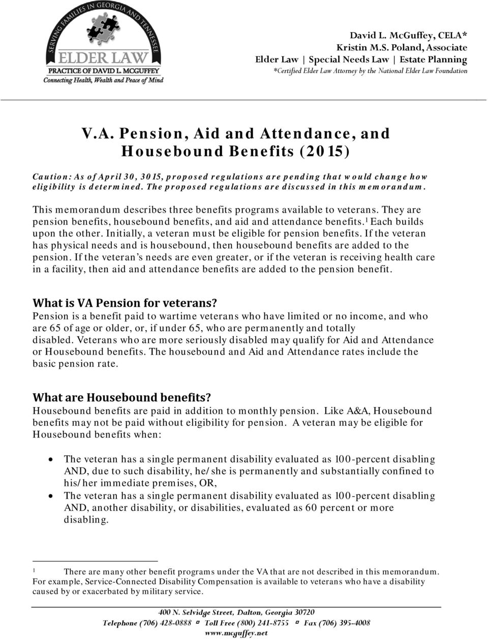 V A  Pension, Aid and Attendance, and Housebound Benefits