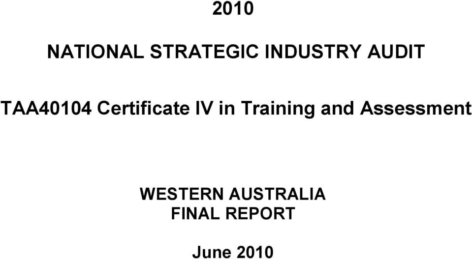 Training and Assessment WESTERN
