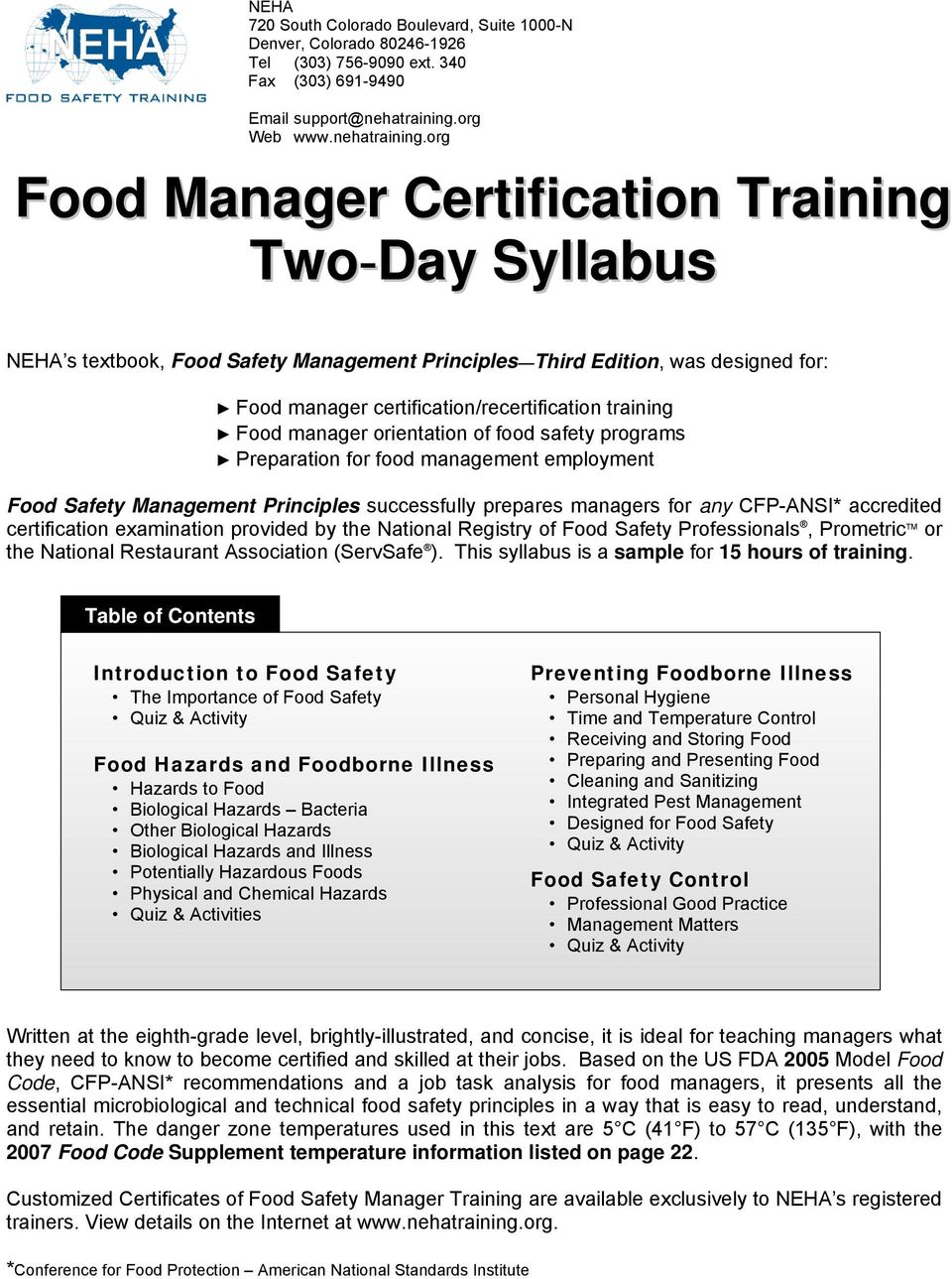 Food manager certification/recertification training Food