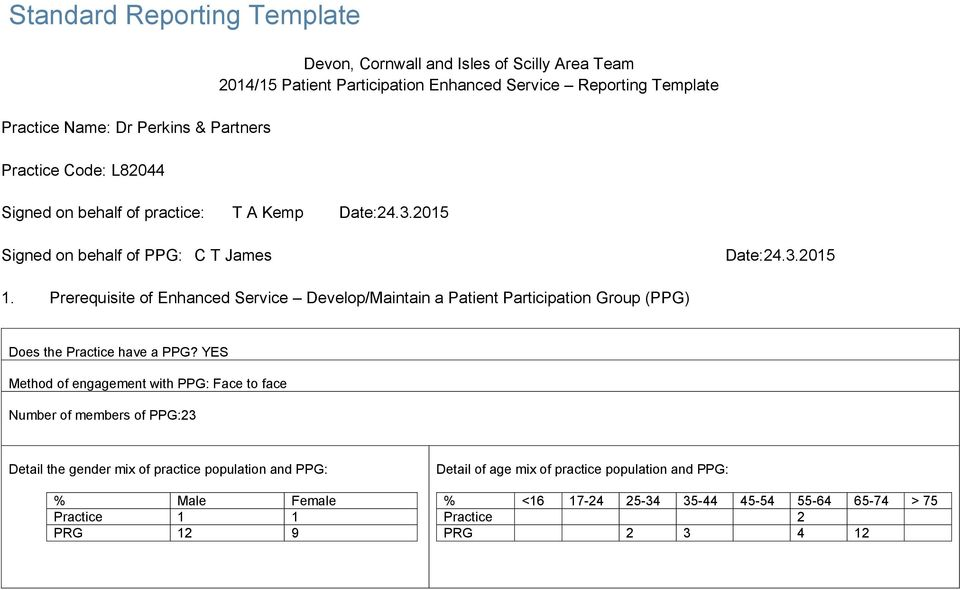 Prerequisite of Enhanced Service Develop/Maintain a Patient Participation Group (PPG) Does the Practice have a PPG?