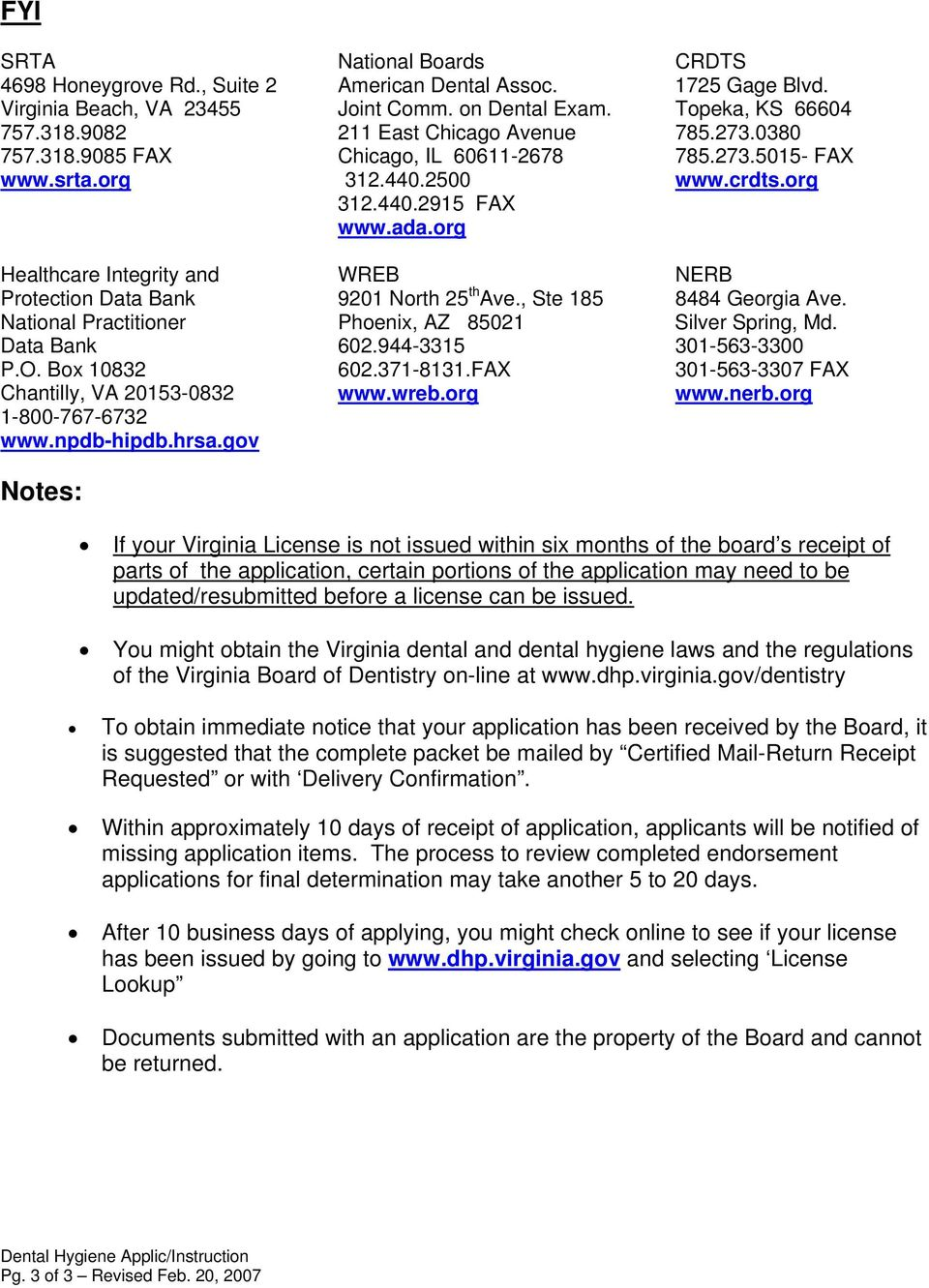 APPLICATION REQUIREMENTS FOR DENTAL HYGIENISTS - PDF