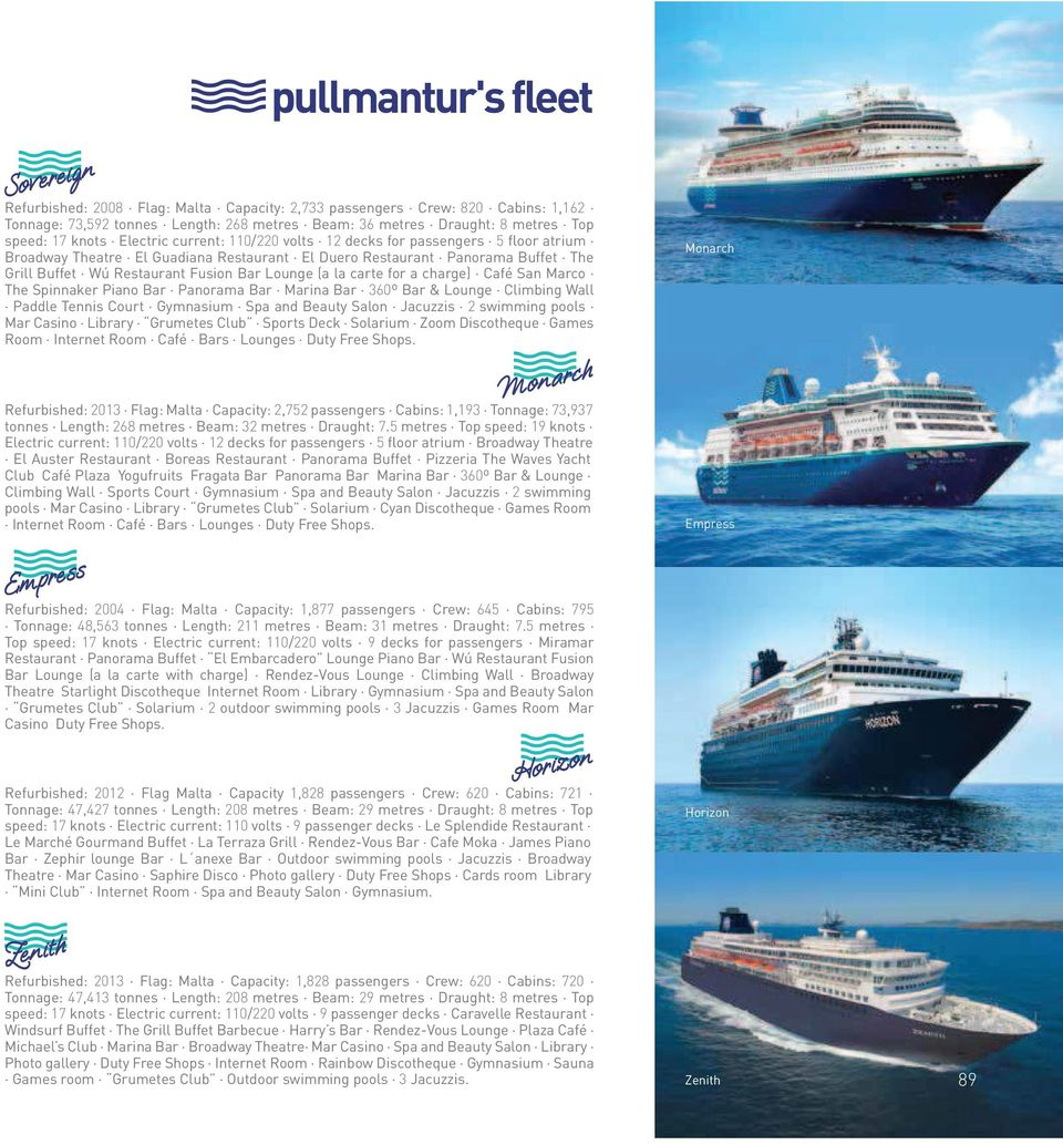 Pullmantur S Fleet Monarch Empress Horizon Zenith Pdf Free