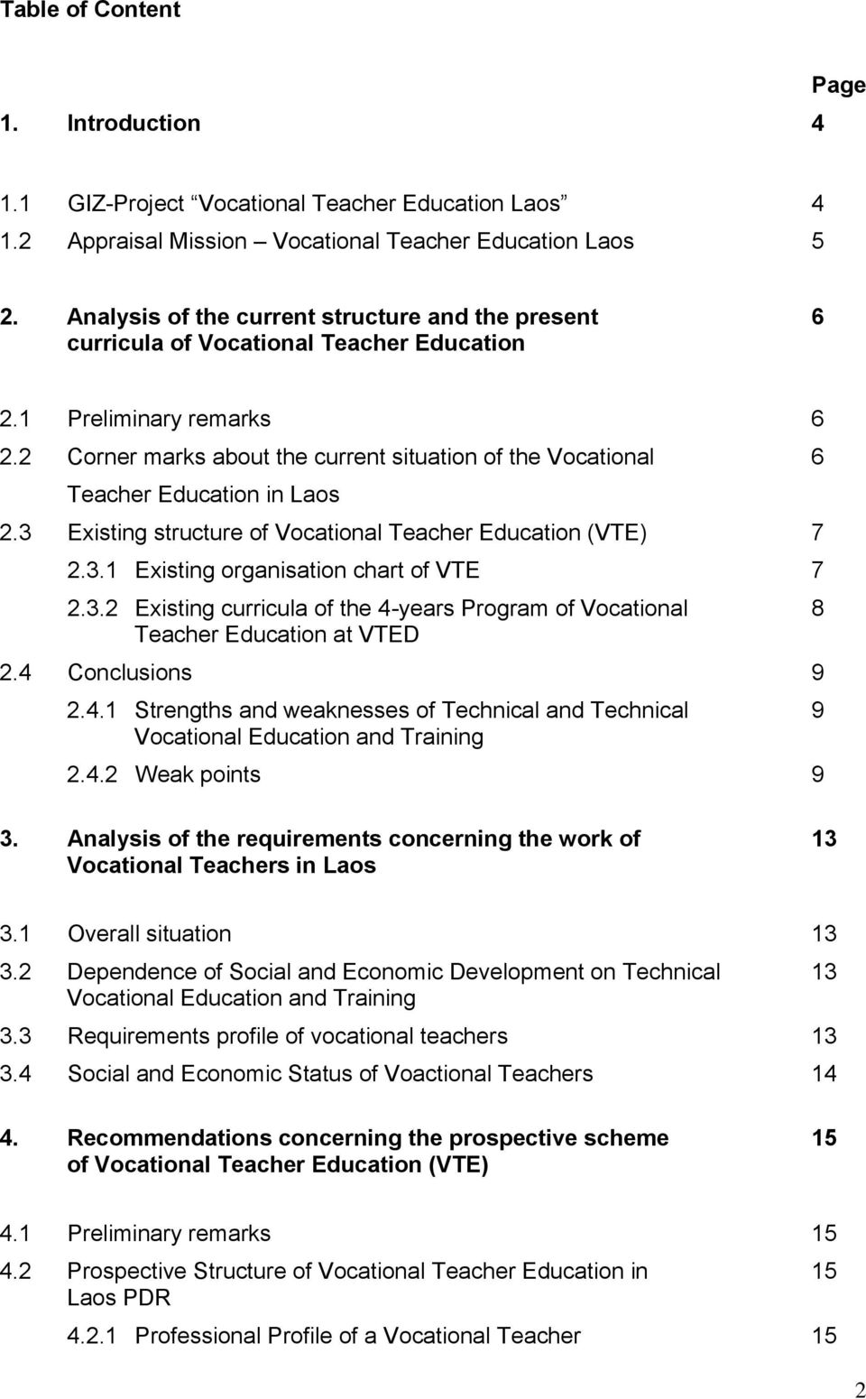 Report Appraisal Mission Vocational Teacher Education Laos By order