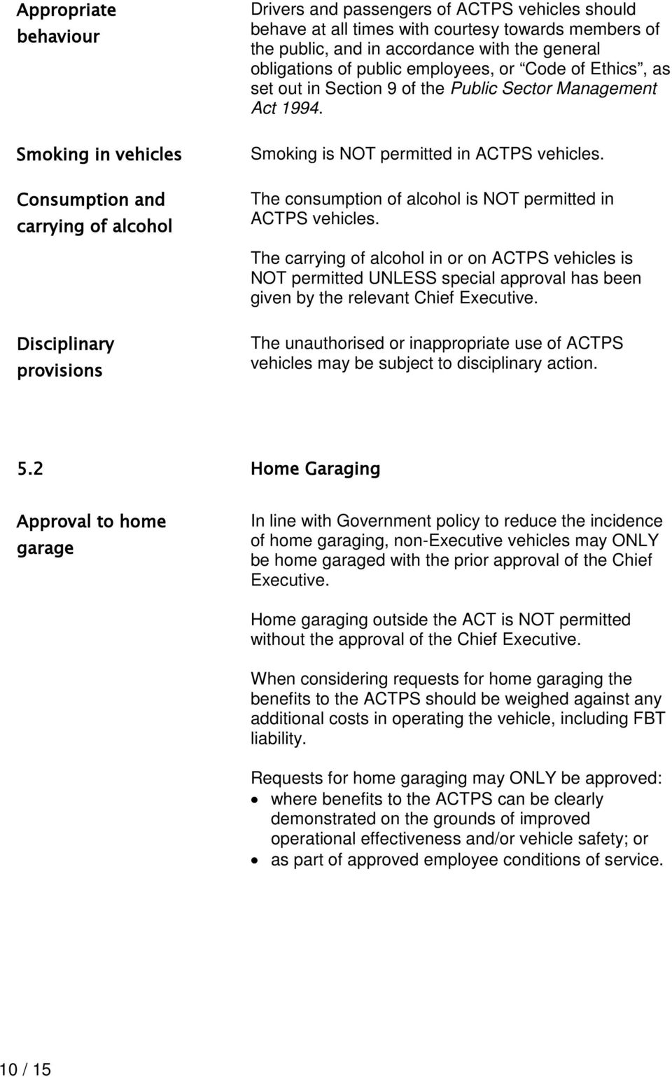 The consumption of alcohol is NOT permitted in ACTPS. The carrying of alcohol in or on ACTPS is NOT permitted UNLESS special approval has been given by the relevant Chief Executive.