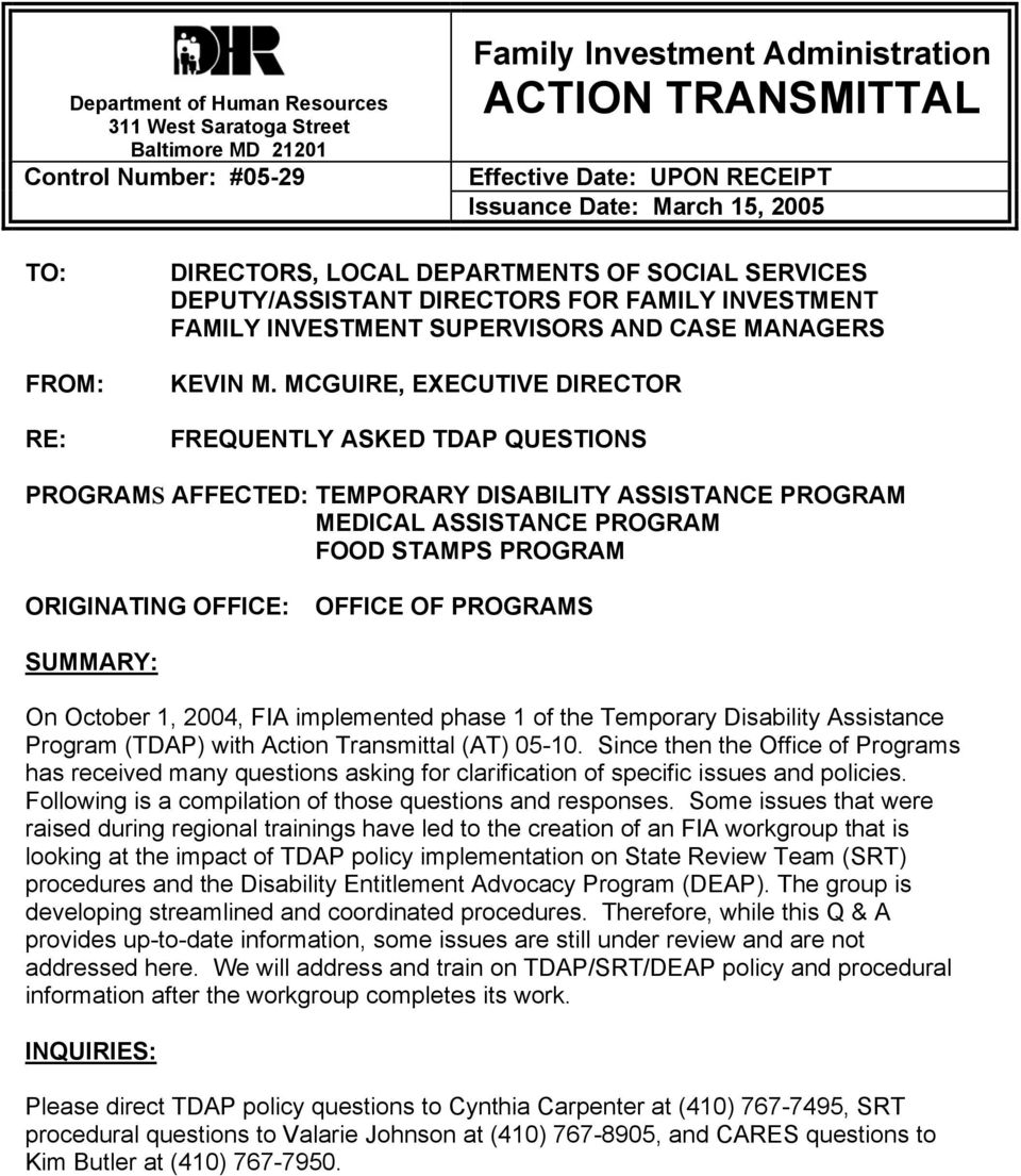 Family Investment Administration ACTION TRANSMITTAL - PDF