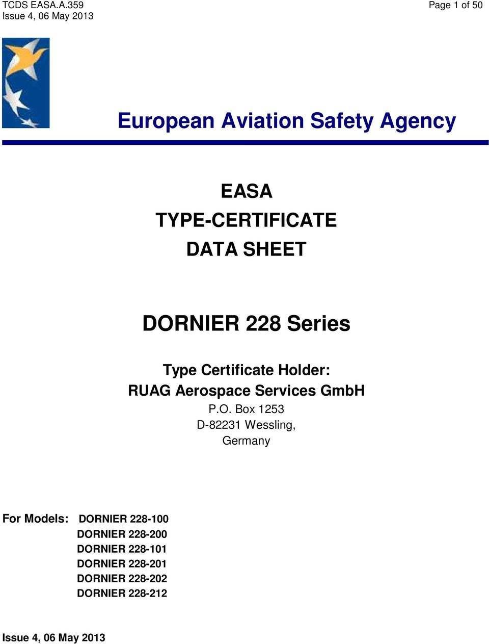 Tcds Easaa359 Page 1 Of 50 Issue 4 06 May 2013 Easa Type