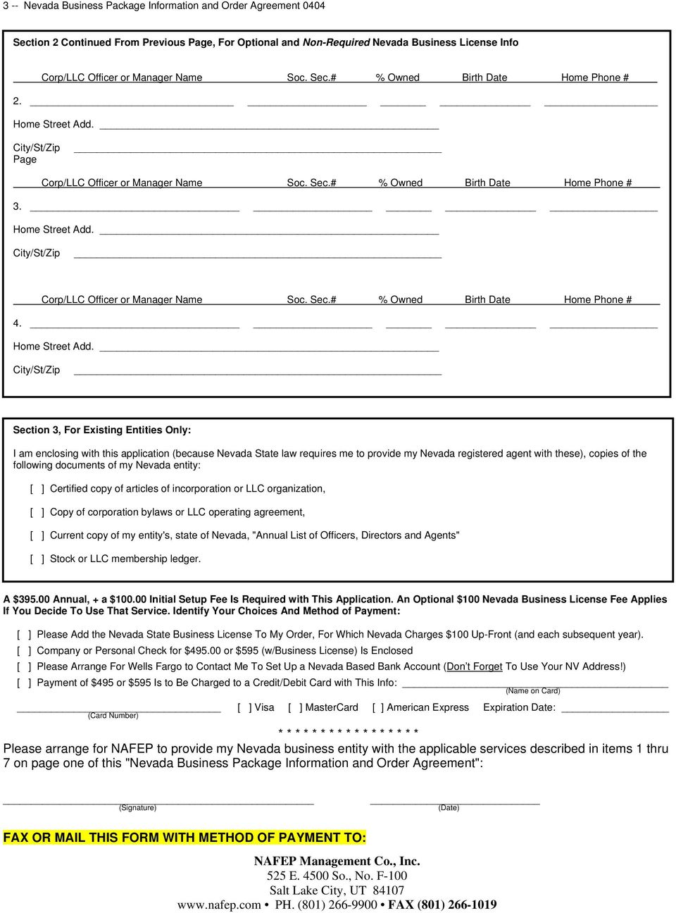 Order Form And Details For Nafep S Nevada Business Package Pdf