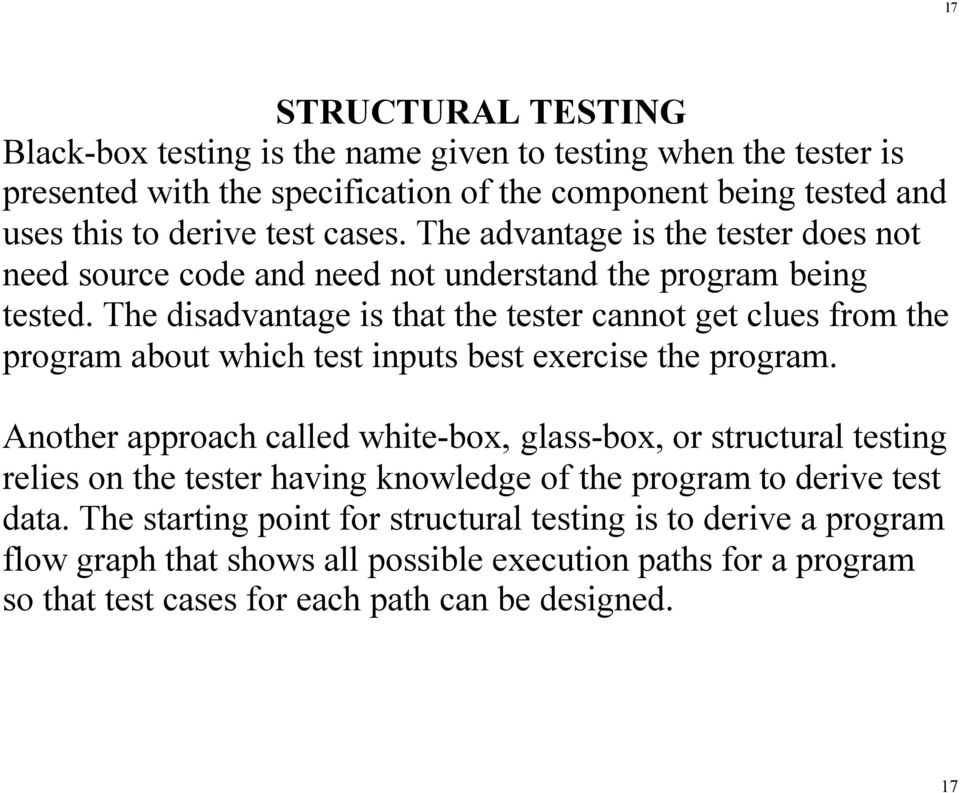 The disadvantage is that the tester cannot get clues from the program about which test inputs best exercise the program.