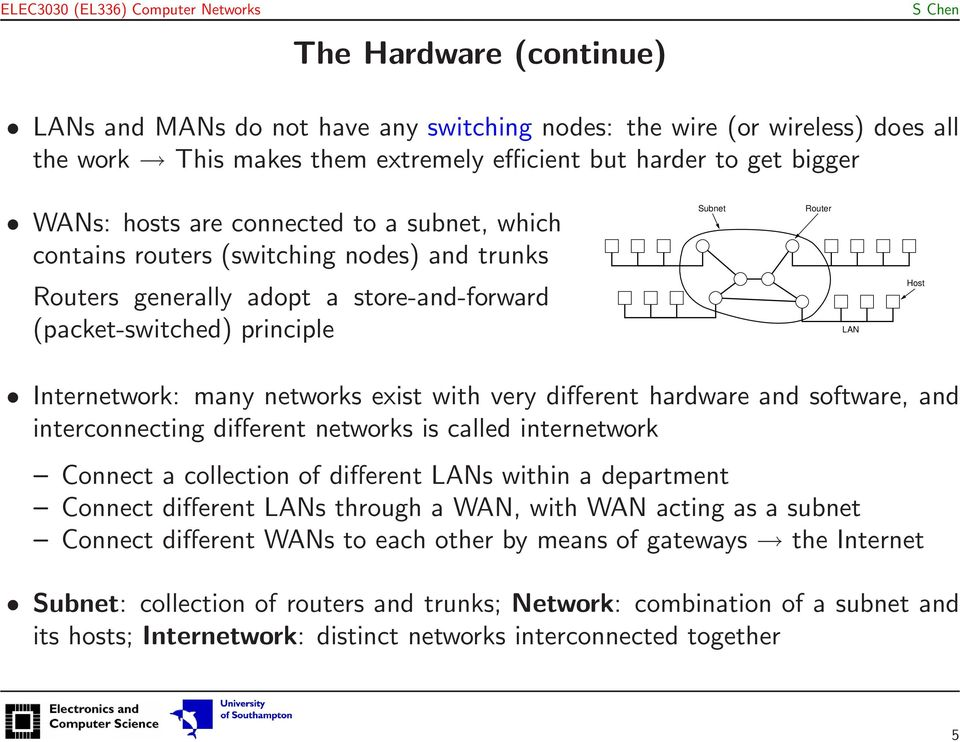 very different hardware and software, and interconnecting different networks is called internetwork Connect a collection of different LANs within a department Connect different LANs through a WAN,
