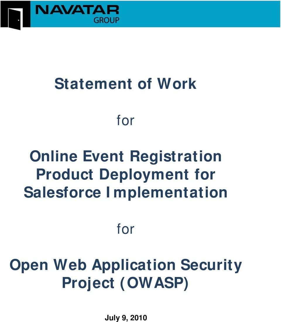 Salesforce Implementation for Open Web