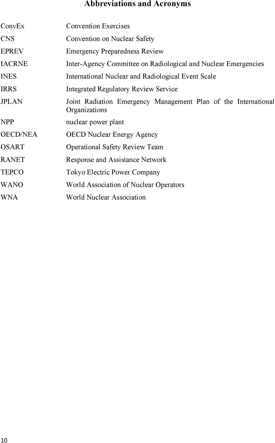 Integrated Regulatory Review Service Joint Radiation Emergency Management Plan of the International Organizations nuclear power plant OECD Nuclear Energy