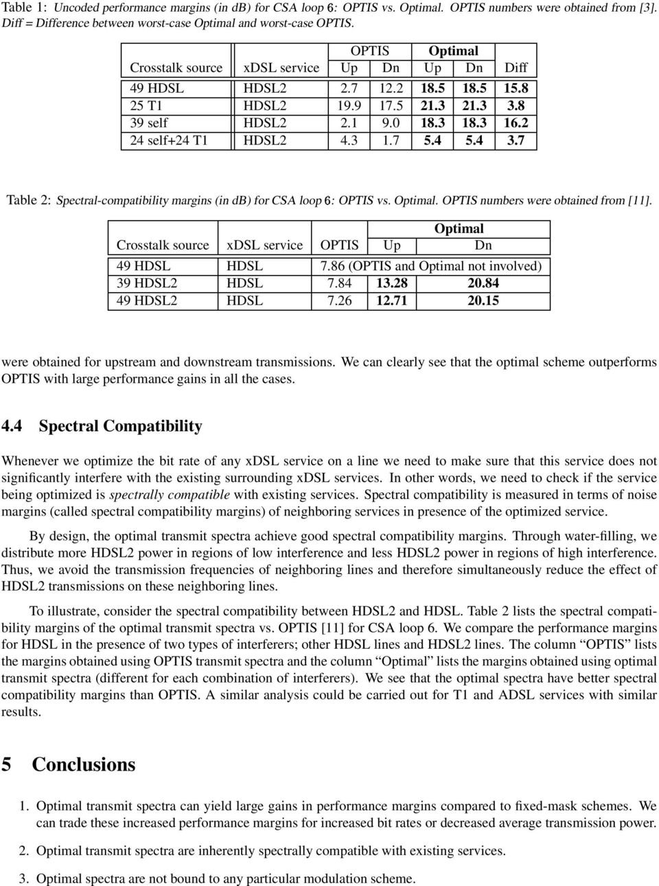 4 5.4 3.7 Table 2: Spectral-compatibility margins (in db) for CSA loop E : OPTIS vs. Optimal. OPTIS numbers were obtained from [11]. Optimal Crosstalk source xdsl service OPTIS Up Dn 49 HDSL HDSL 7.