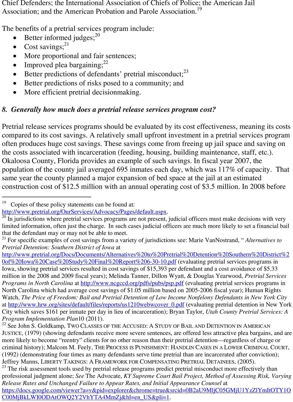 FREQUENTLY ASKED QUESTIONS ABOUT PRETRIAL RELEASE DECISION MAKING - PDF