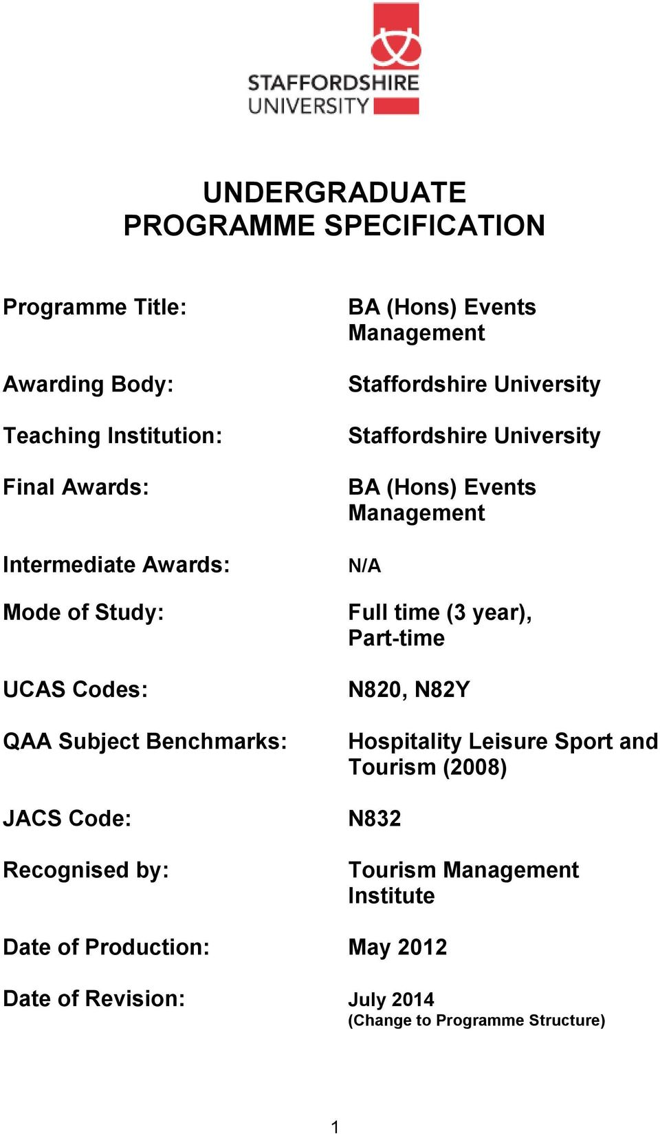 Staffordshire University BA (Hons) Events Management N/A Full time (3 year), Part-time N820, N82Y Hospitality Leisure Sport and