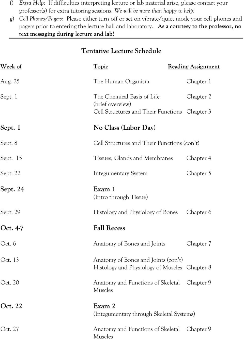As a courtesy to the professor, no text messaging during lecture and lab! Tentative Lecture Schedule Week of Topic Reading Assignment Aug. 25 The Human Organism Chapter 1 Sept.