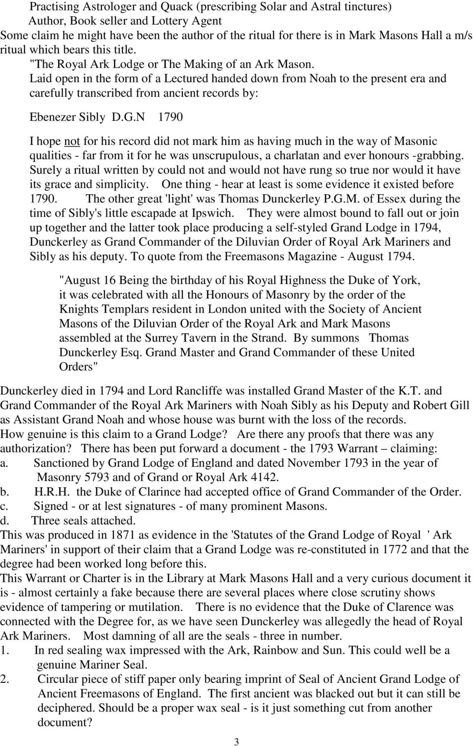 ROYAL ARK MARINERS DEGREE: ITS CHEQUERED HISTORY  W H H Lane - PDF