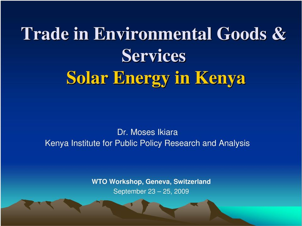 Moses Ikiara Kenya Institute for Public Policy
