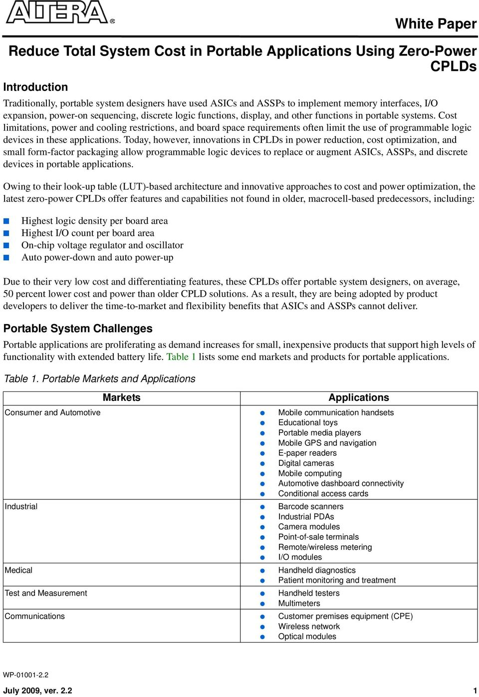 White Paper Reduce Total System Cost In Portable Applications Using Zero Power Cplds Pdf Free Download