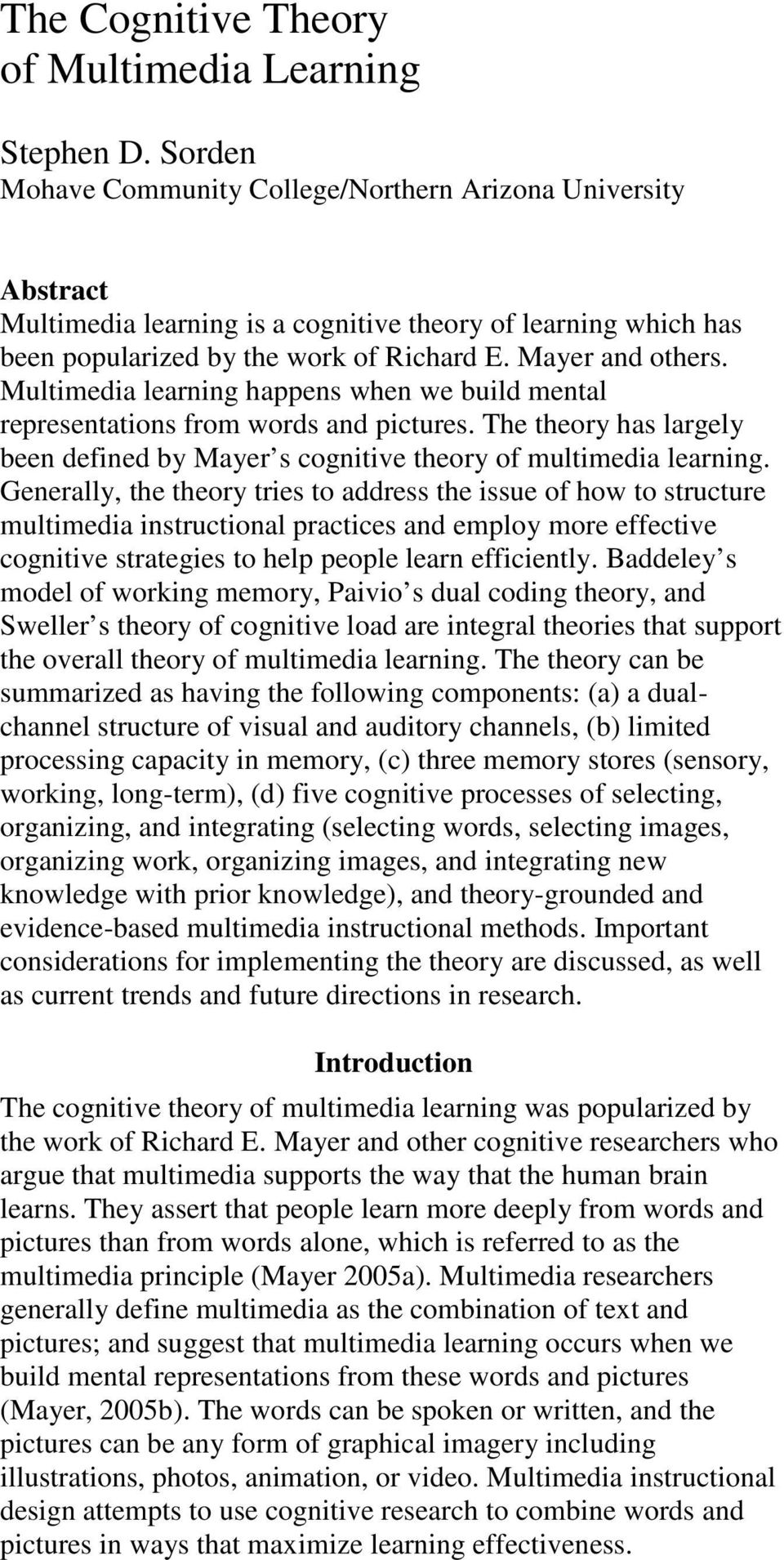 the cognitive theory of multimedia learning - pdf