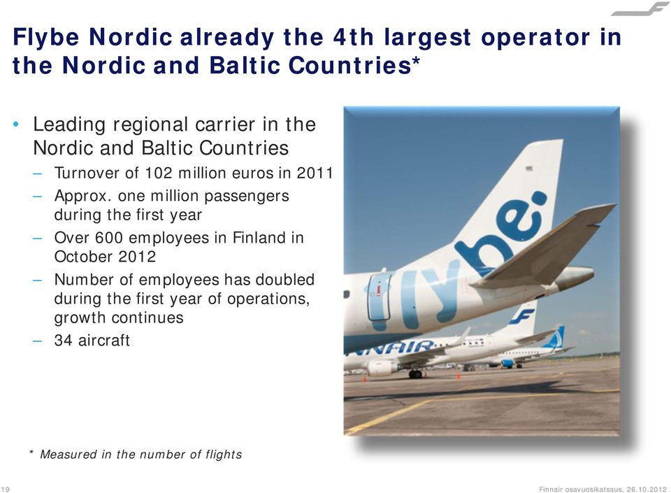 one million passengers during the first year Over 600 employees in Finland in October 2012 Number of employees
