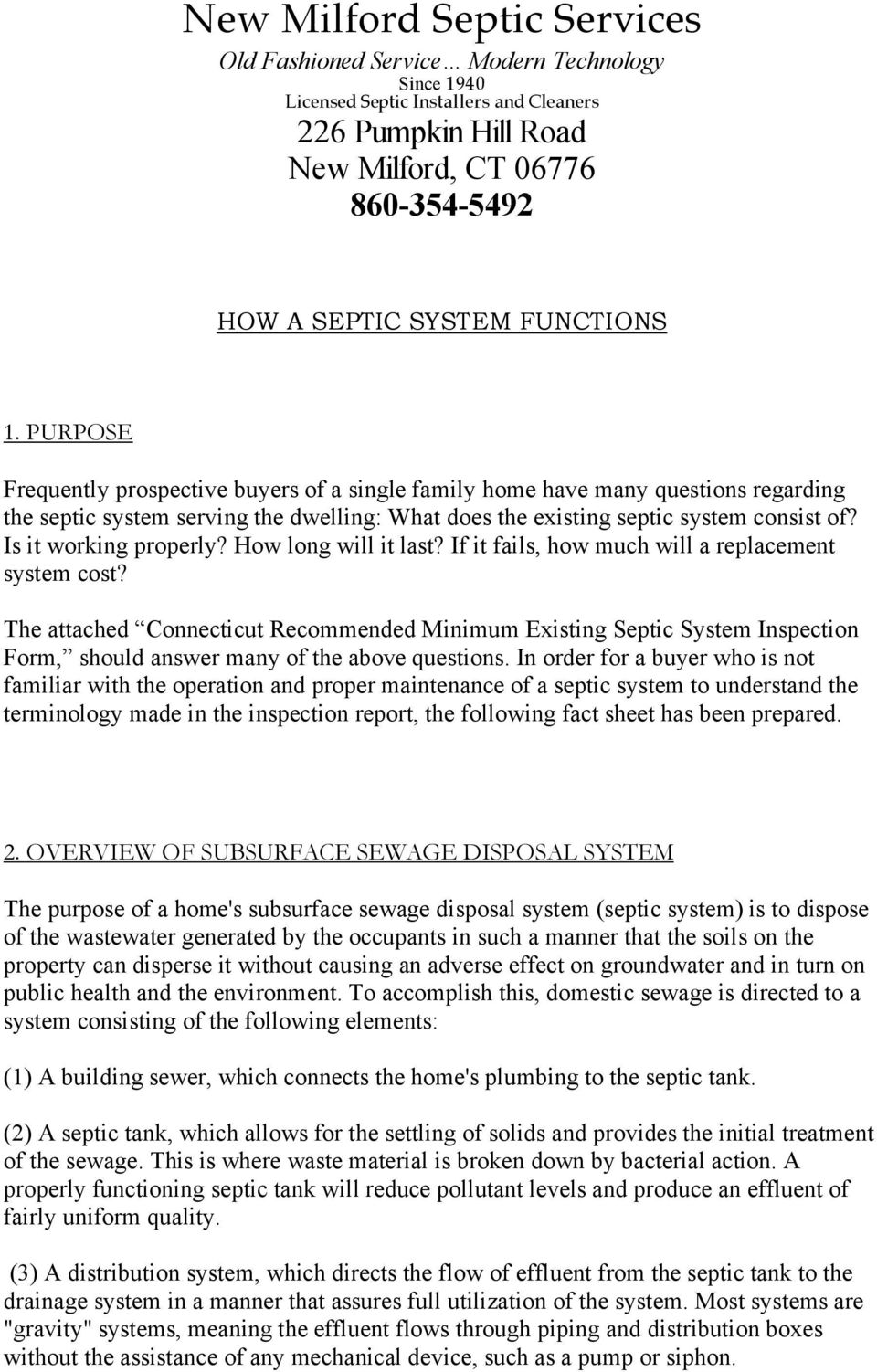 HOW A SEPTIC SYSTEM FUNCTIONS - PDF