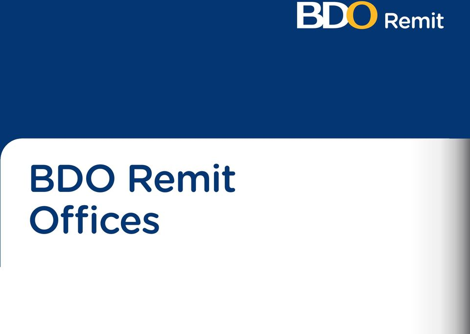 BDO Remit Offices  Subsidiary Offices Address Country ASIA