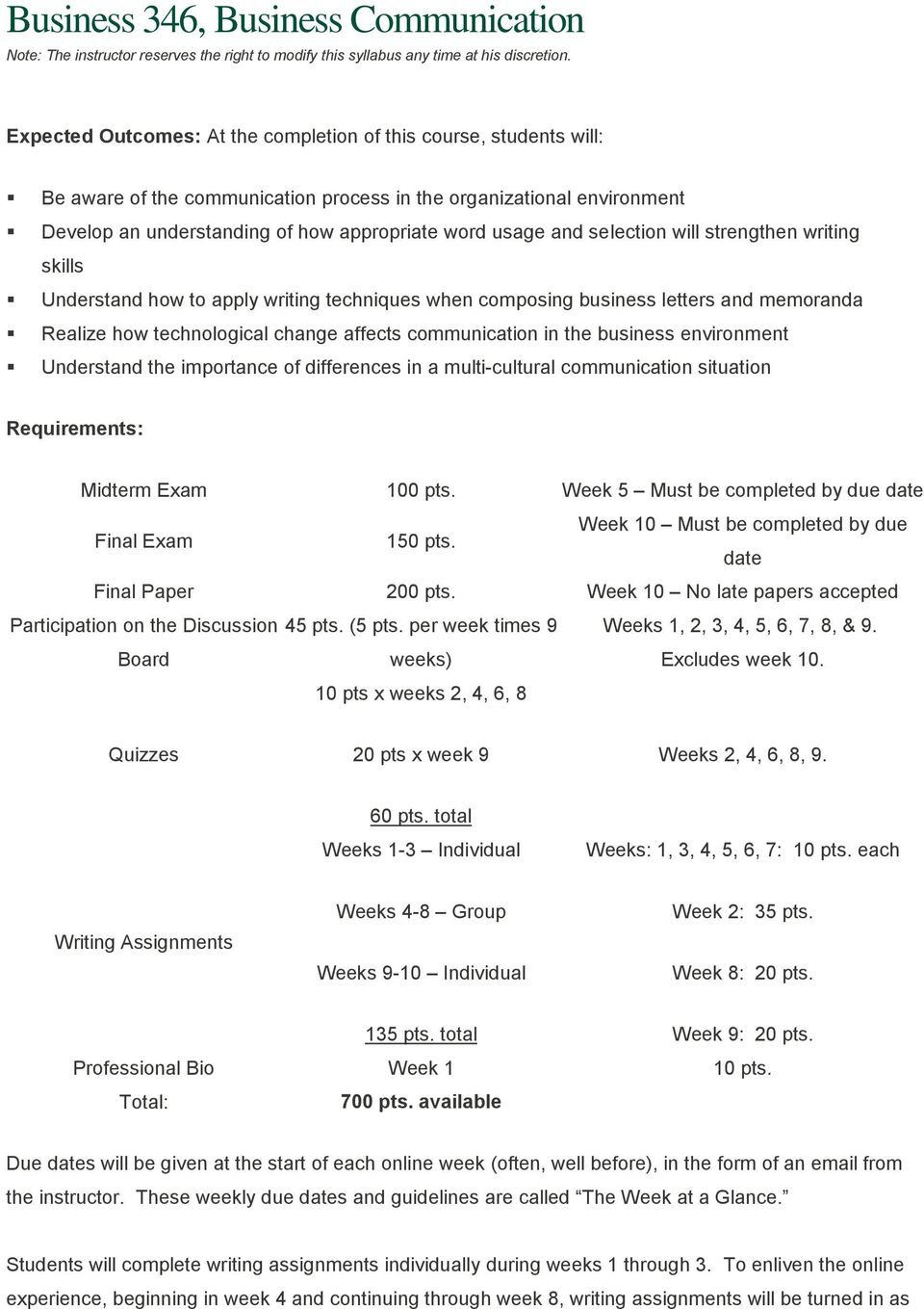 Business 346, Business Communication Note: The instructor reserves