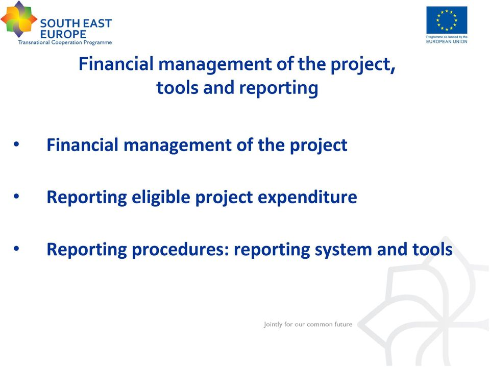 project Reporting eligible project