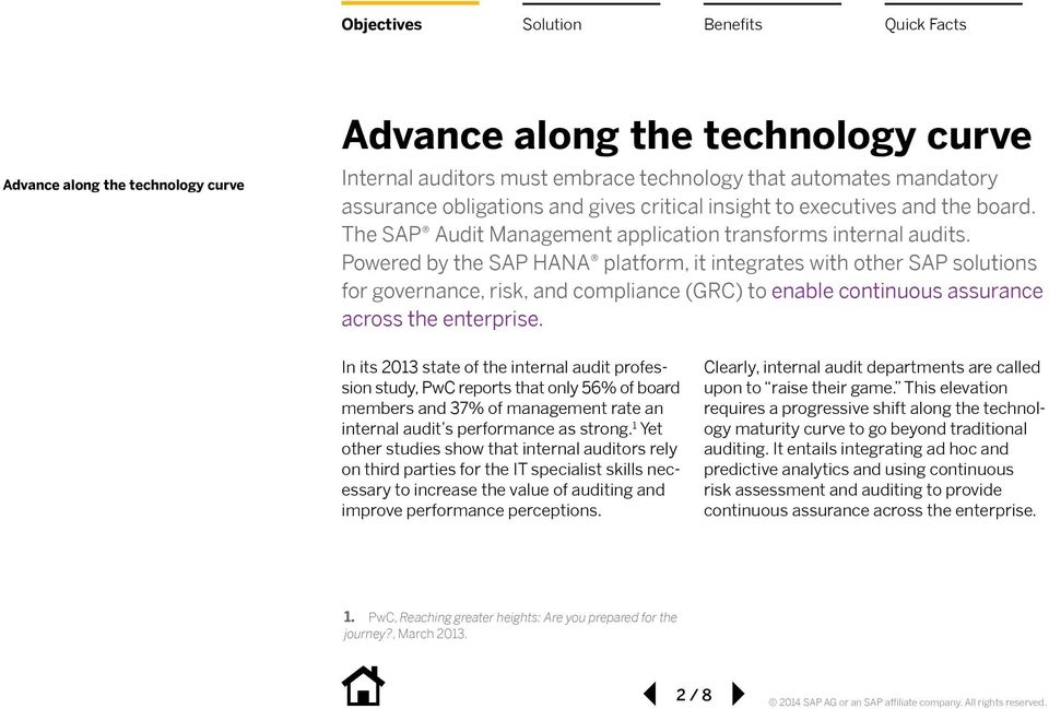 Powered by the SAP HANA platform, it integrates with other SAP solutions for governance, risk, and compliance (GRC) to enable continuous assurance across the enterprise.