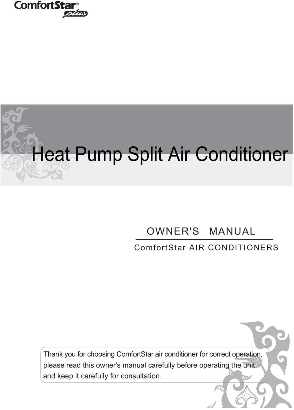 Heat Pump Split Air Conditioner Pdf Inverter Renesas Electronics India For Correct Operation Please Read This Owners Manual Carefully