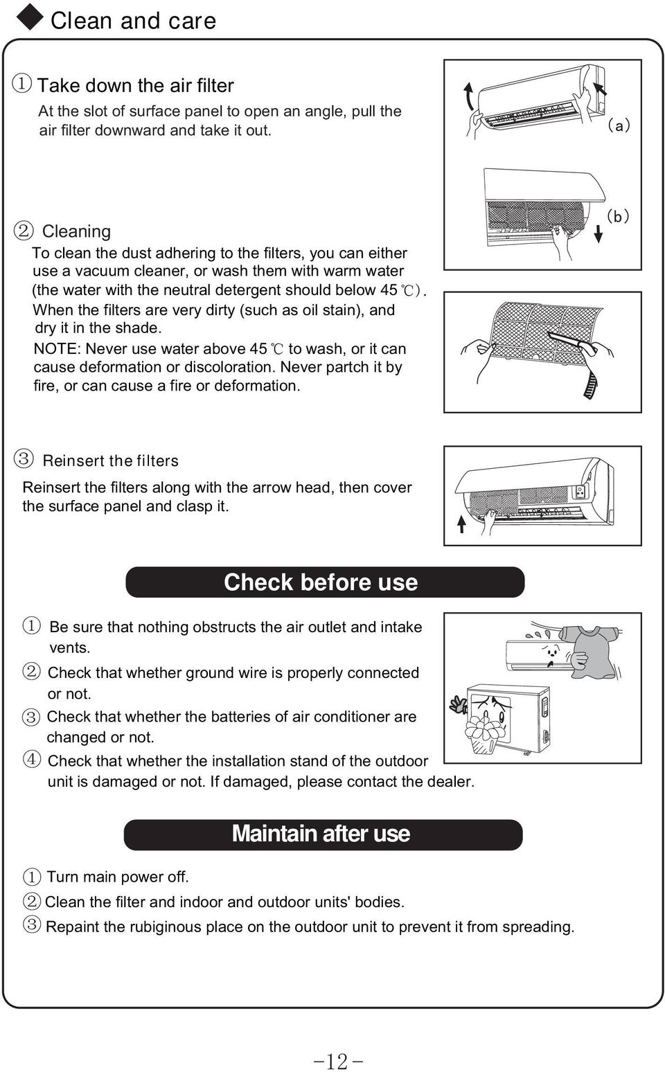 Heat Pump Split Air Conditioner Pdf Soleus Wiring Diagram Dirty Such As Oil Stain And Dry It In The Shade Note