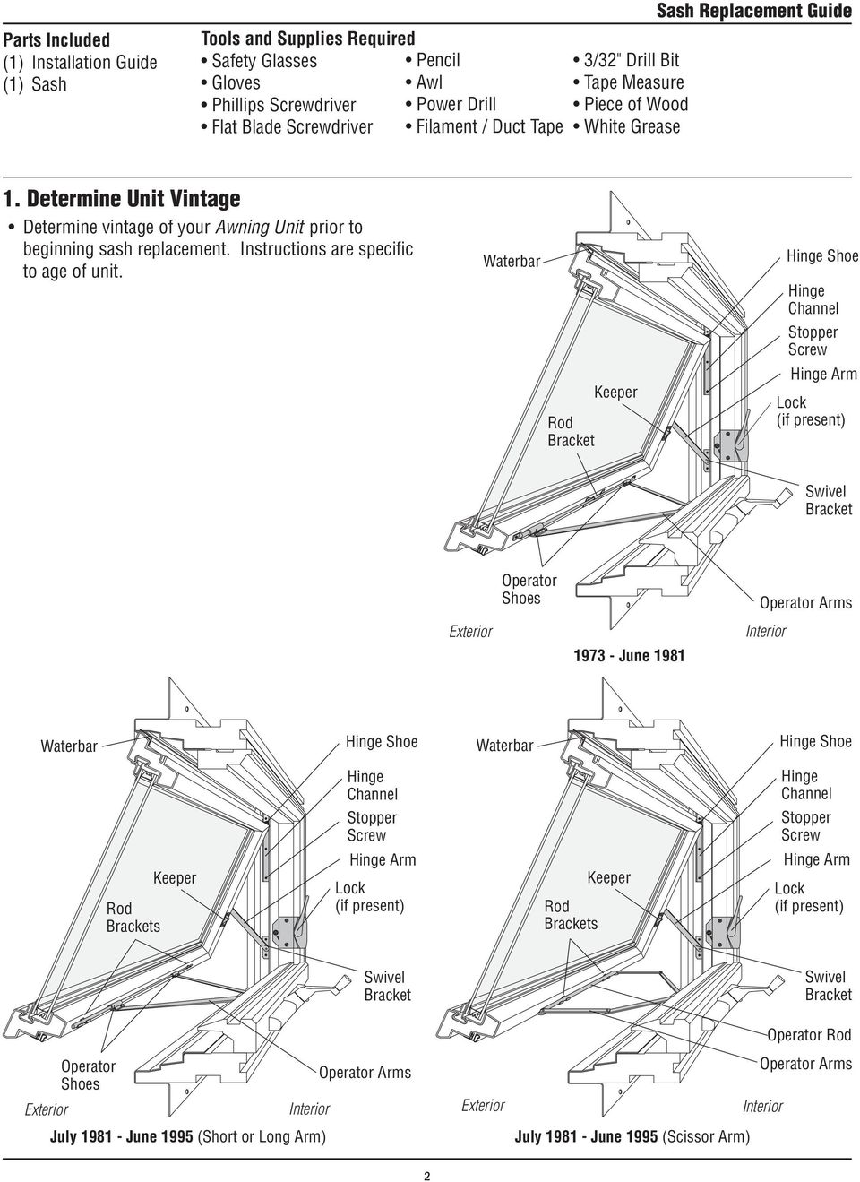 Determine Unit Vintage Determine vintage of your Awning Unit prior to beginning sash replacement. Instructions are specific to age of unit.