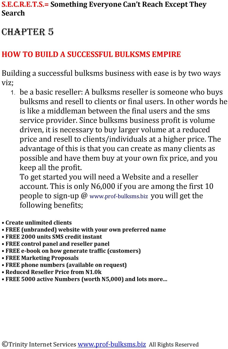 HOW TO START AND RUN YOUR OWN LUCRATIVE BULKSMS BUSINESS