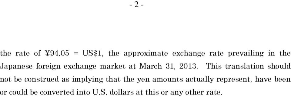 exchange market at March 31, 2013.