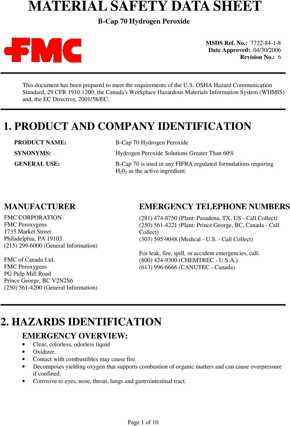 Product And Company Identification Product Name B Cap 70 Hydrogen Peroxide Synonyms Hydrogen