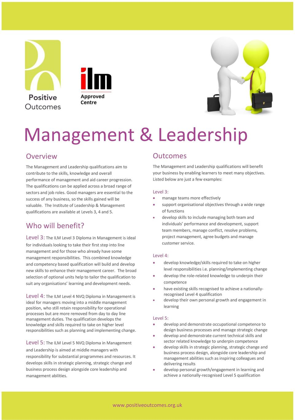 The Institute of Leadership & Management qualifications are available at Levels 3, 4 and 5. Who will benefit?