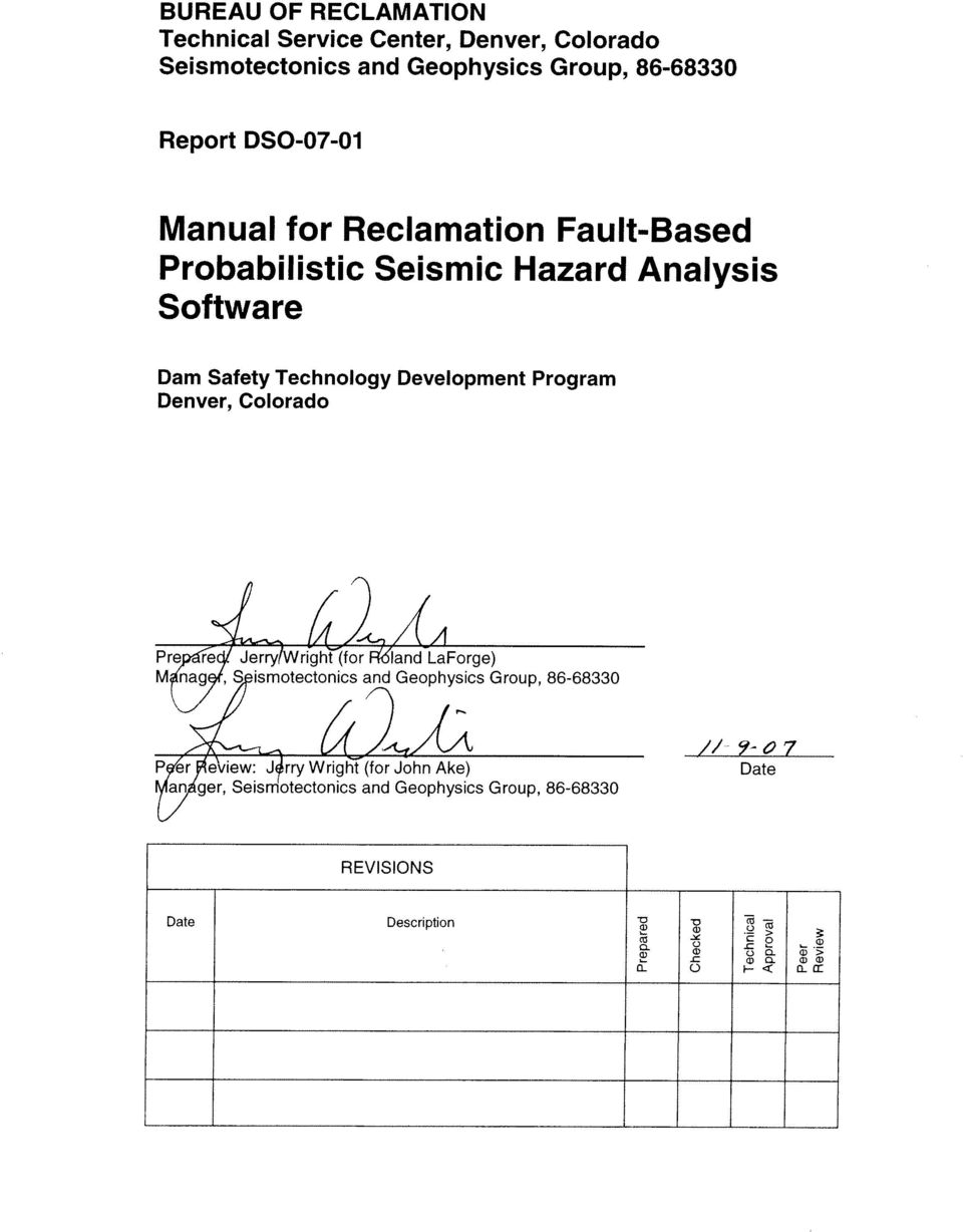 Manual for Reclamation Fault-Based Probabilistic Seismic