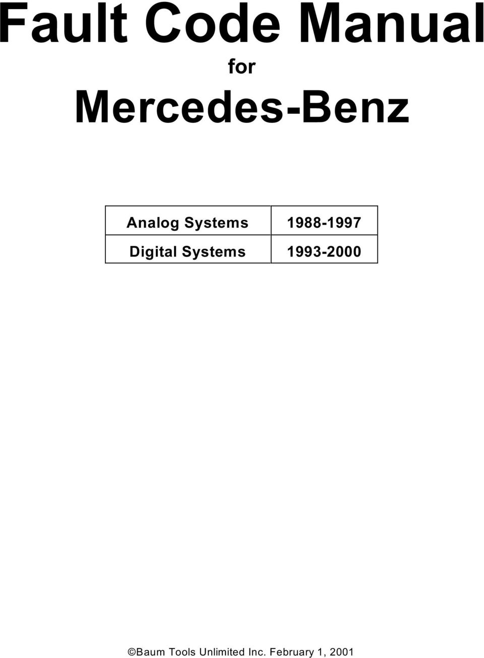 Fault Code Manual for Mercedes-Benz Analog Systems Digital Systems - PDF