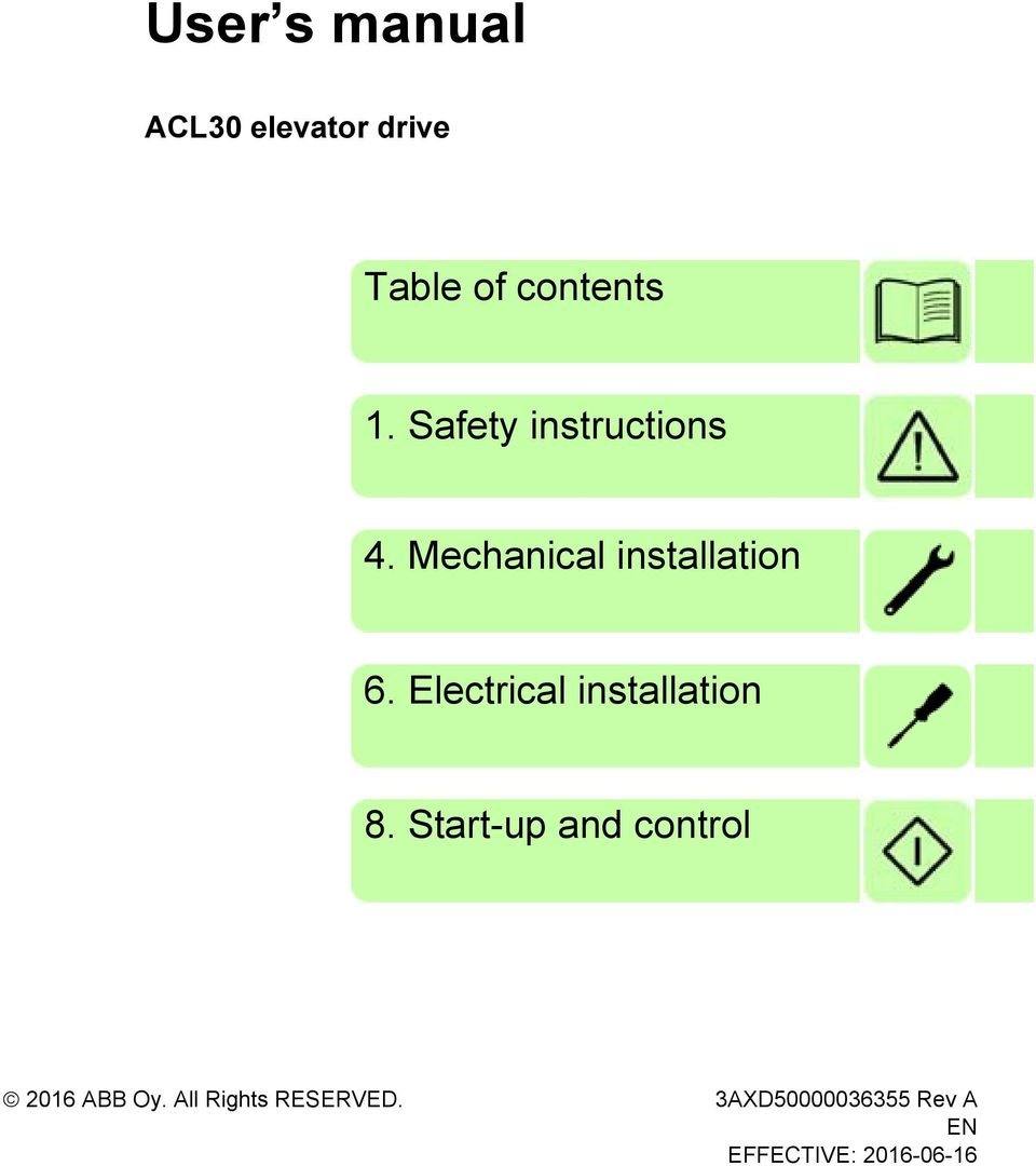 Abb High Performance Elevator Drives User S Manual Acl30 Solid State Relay Wiring Diagram Electrical Installation 8