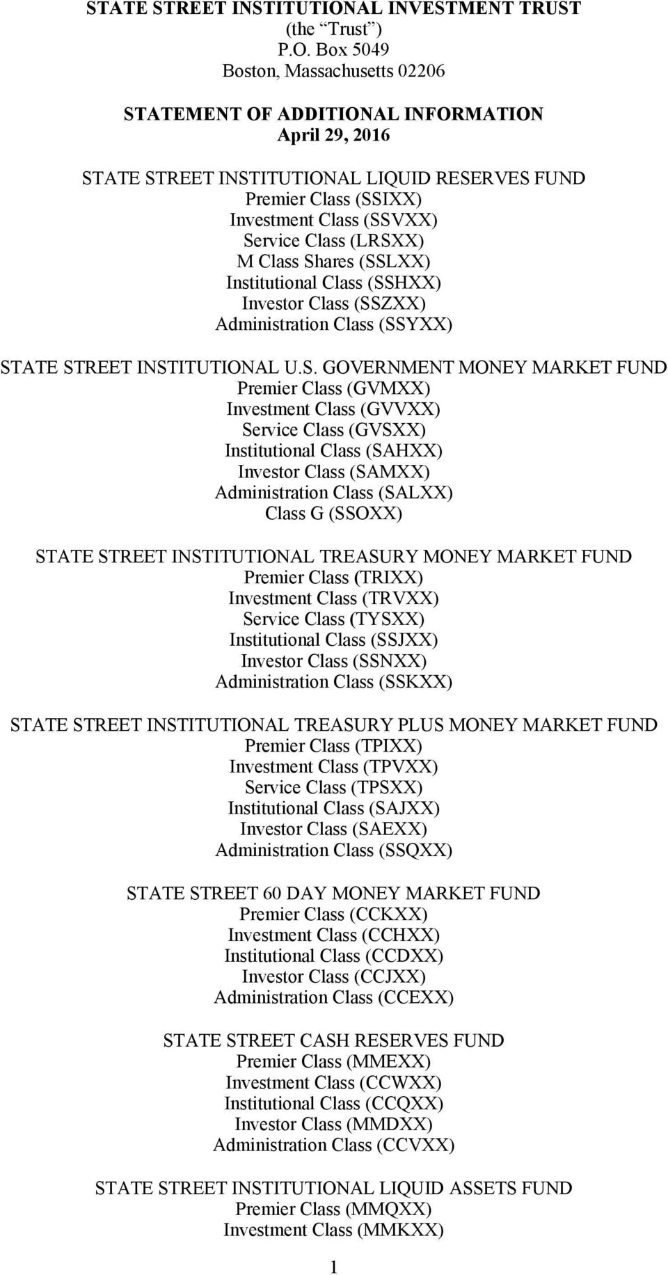 State Street Institutional Investment Trust SUPPLEMENT DATED