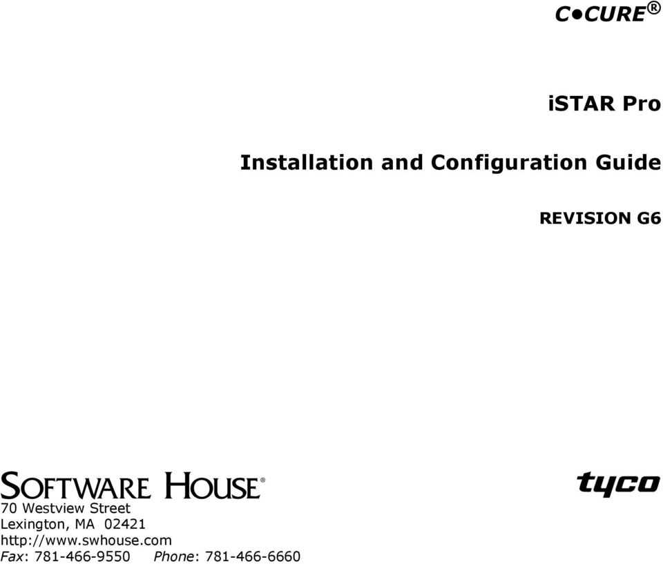 c cure istar pro installation and configuration guide revision g6 westview street lexington ma 02421