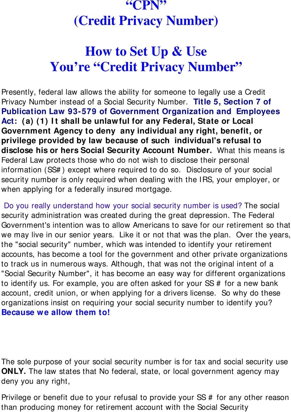 CPN (Credit Privacy Number) How to Set Up & Use You re Credit