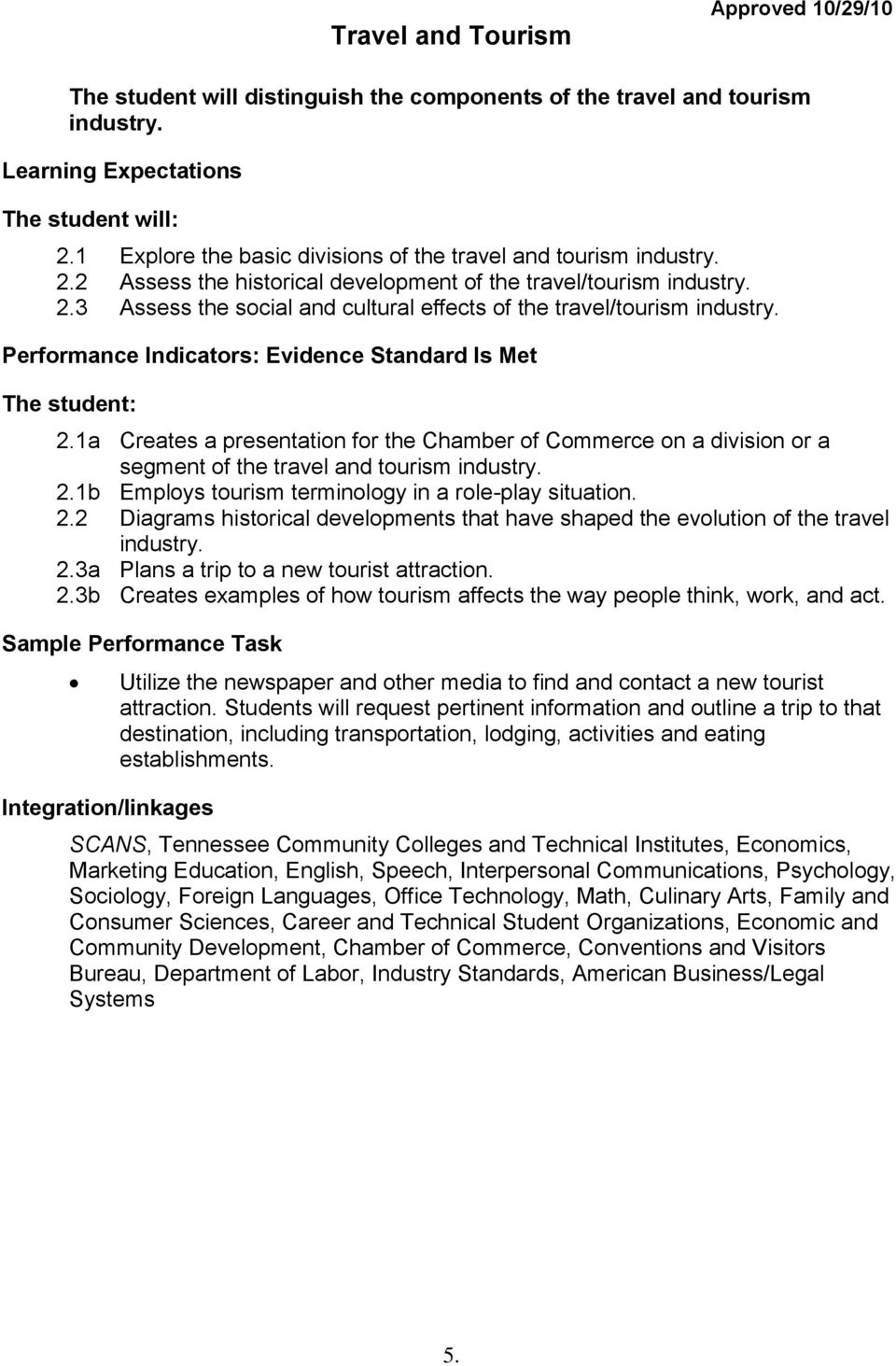 Travel and Tourism  10 th, 11 th, 12 th  *Standards to be