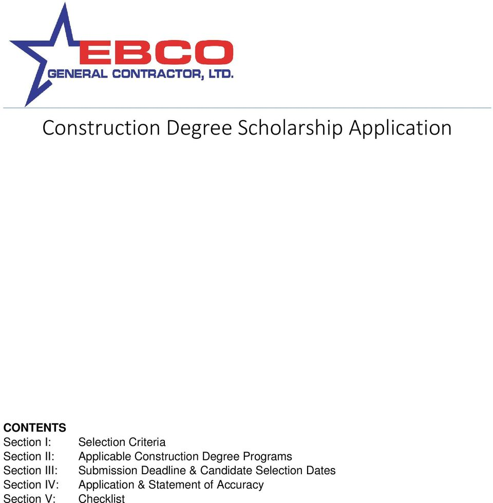 Criteria Applicable Construction Degree Programs Submission