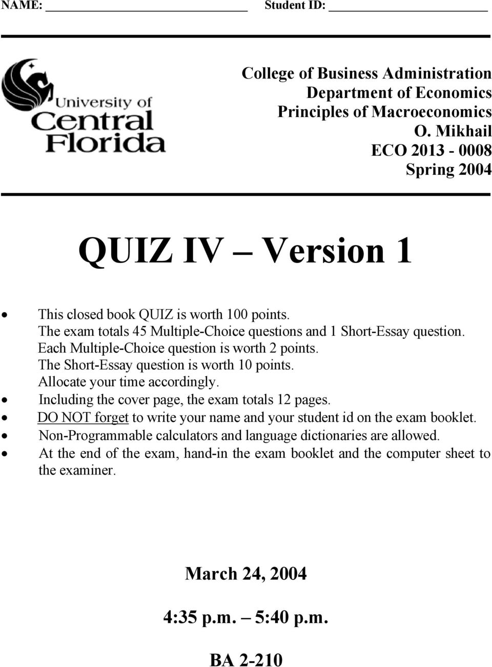 QUIZ IV Version 1  March 24, :35 p m  5:40 p m  BA PDF